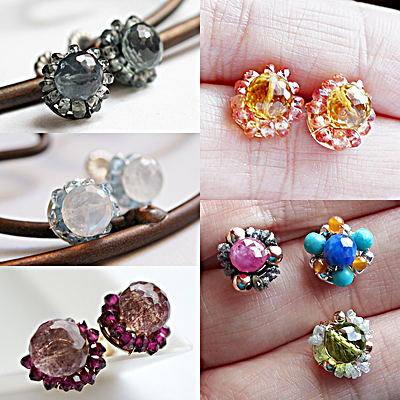 Post Earrings mixing Precious and semi-Precious Gemstone