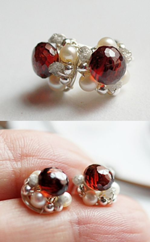 Mozambique Red Garnet with Pearl and Raw Diamond