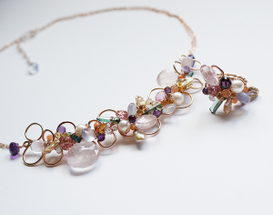 pastel gemstones all wirewrapped with 14kt Rose Goldfill