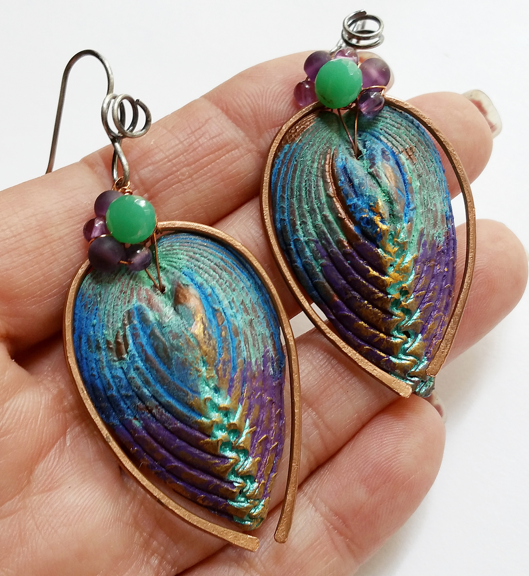 "Polymer Clay ""shell"" by Helen Backhouse in UK, Chrysoprase and Amethyst. Mix metal of Copper and hand forged Sterling Silver earwire."