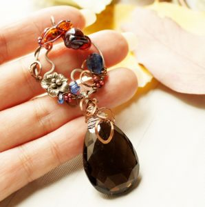 Dragon lampwork glass, Royal Blue Kyanite, GEM Smokey Quartz, mix metal of Sterling Silver and Copper.